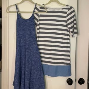 Girls Dress Set Of 2 Size 14 Gray And Blue